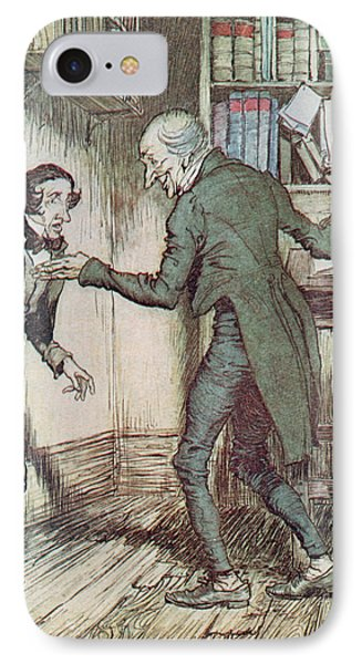 Scrooge And Bob Cratchit IPhone Case by Arthur Rackham