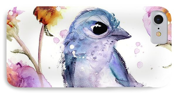 IPhone Case featuring the painting Scrub Jay In The Wildflowers by Dawn Derman