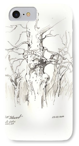 IPhone Case featuring the drawing Scrub Oaks In Cottonwood by John Norman Stewart