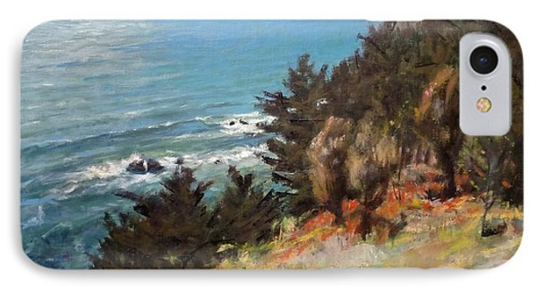 Sea And Pines Near Ragged Point, California Phone Case by Peter Salwen