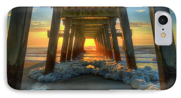 Sea Foam Tybee Island Pier Sunrise Art IPhone Case by Reid Callaway