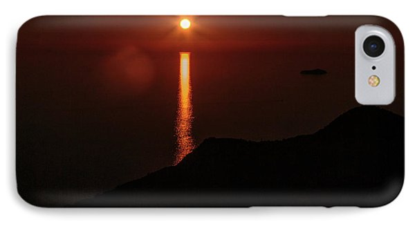 Sea, Mountains, Sunset, Sun Sinking Over The Horizon IPhone Case