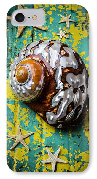 Sea Snail Shell With Stars IPhone Case by Garry Gay