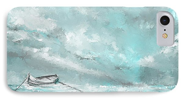 Sea Spirit - Lighter Version - Teal And Gray Art  IPhone Case by Lourry Legarde