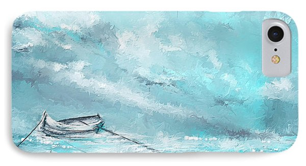 Sea Spirit - Teal And Gray Art IPhone Case by Lourry Legarde