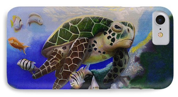 IPhone Case featuring the painting Sea Turtle Acrylic Painting by Thomas J Herring