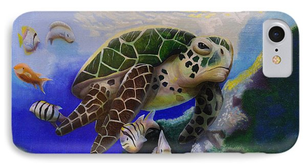Sea Turtle Acrylic Painting IPhone Case by Thomas J Herring