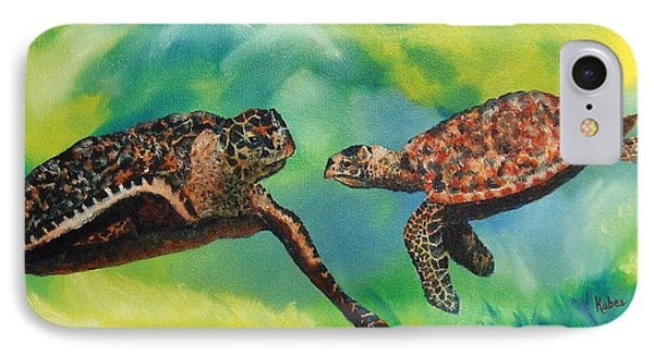 Sea Turtles And Dolphins Phone Case by Susan Kubes