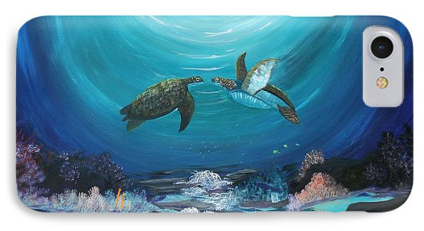 IPhone Case featuring the painting Sea Turtles Greeting by Myrna Walsh