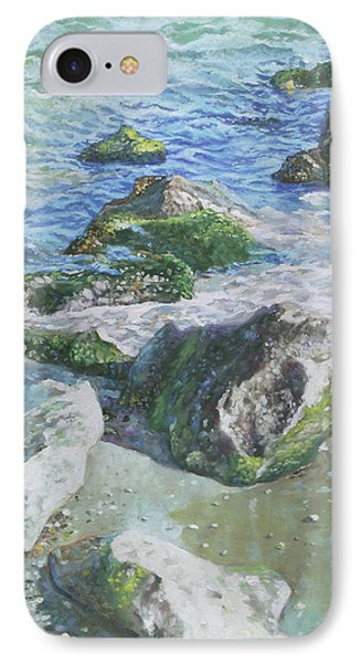 IPhone Case featuring the painting Sea Water With Rocks On Shore by Martin Davey