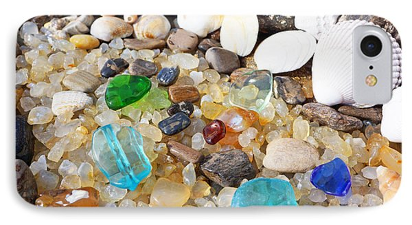 Seaglass Art Prints Sea Glass Shells Agates IPhone Case by Baslee Troutman Art Prints