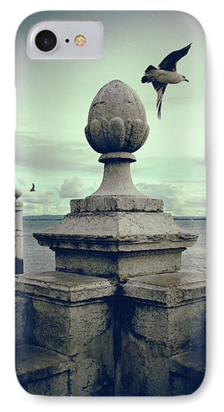 IPhone Case featuring the photograph Seagulls In Columns Dock by Carlos Caetano