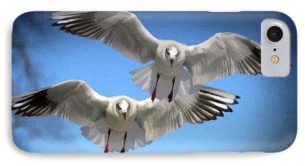 IPhone Case featuring the photograph Seagulls In Flight  by David Dehner