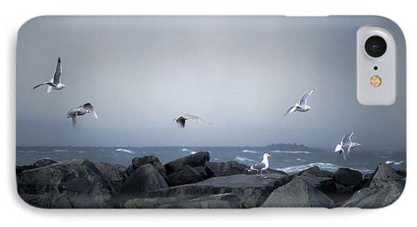 IPhone Case featuring the photograph Seagulls In Flight by Larry Keahey