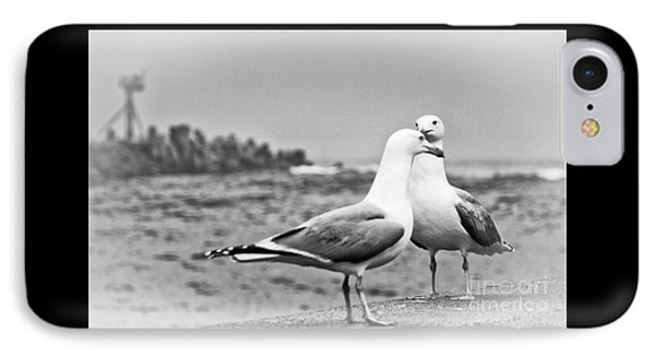Seagulls In Love Beach Ocean Black White Print Photography Seascape Seagull IPhone Case by Pictures HDR