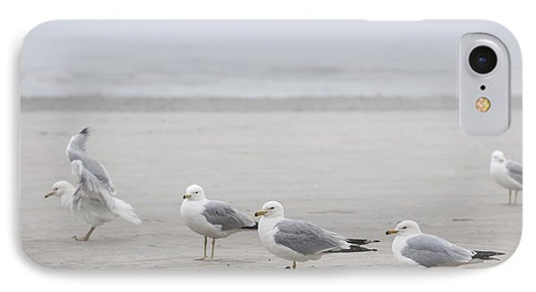 Seagulls On Foggy Beach IPhone 7 Case by Elena Elisseeva