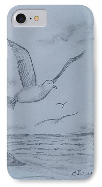 Seagulls Over The Ocean IPhone Case by Carlene Harris