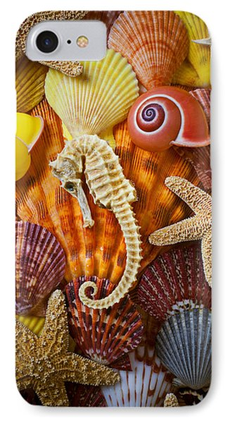 Seahorse iPhone 7 Case - Seahorse And Assorted Sea Shells by Garry Gay
