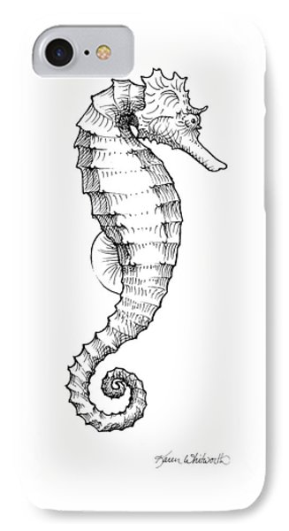 IPhone Case featuring the drawing Seahorse Black And White Sketch by Karen Whitworth