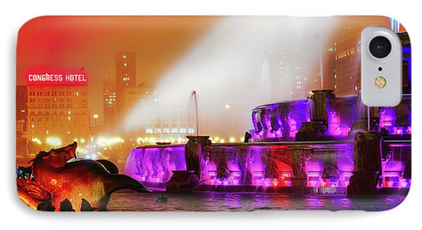 Seahorse In The Fog - Buckingham Fountain - Chicago IPhone Case by Scott Campbell