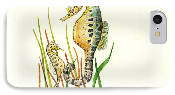 Seahorse iPhone 7 Case - Seahorse Mom And Baby by Juan Bosco