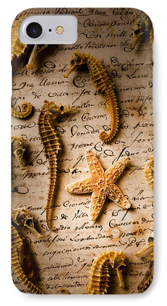 Seahorses And Starfish On Old Letter Phone Case by Garry Gay