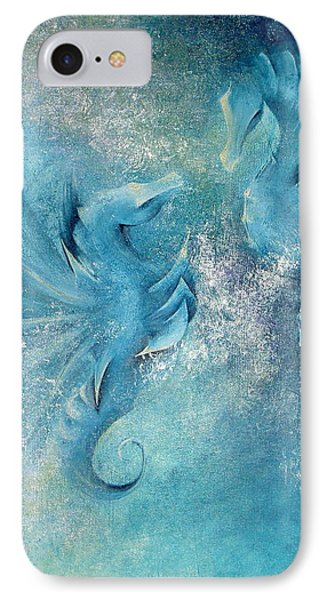 IPhone Case featuring the painting Seahorses In Love 1 by Dina Dargo