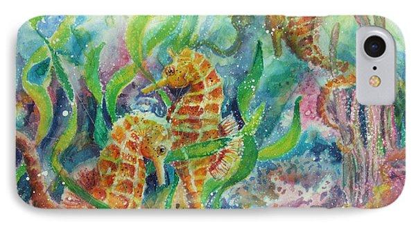Seahorses Three Phone Case by Deborah Younglao
