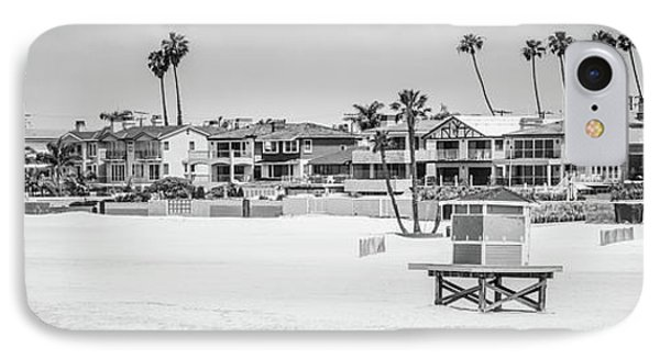 Seal Beach Black And White Panorama Picture IPhone Case by Paul Velgos