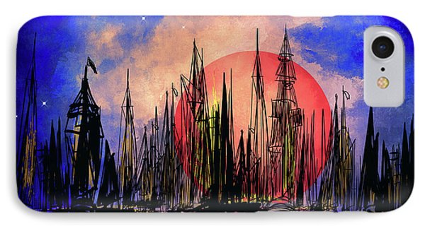 IPhone Case featuring the drawing Seaport by Andrzej Szczerski