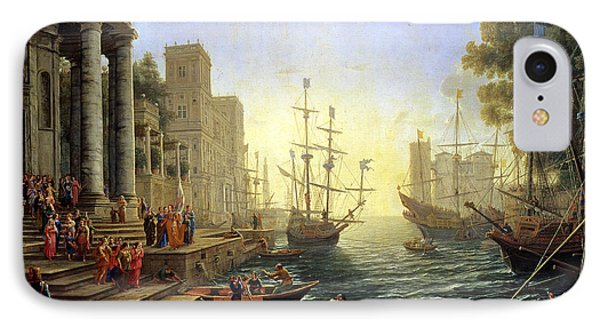 Seaport With The Embarkation Of Saint Ursula  IPhone Case by Claude Lorrain