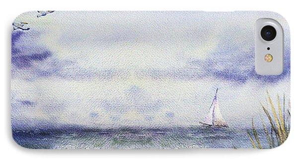 Seascape Elongated Painting With Sailboat IPhone Case by Irina Sztukowski