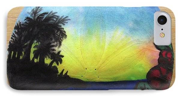 Seascape On A Sand Dollar IPhone Case by Mary Ellen Frazee