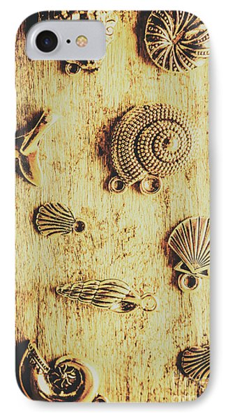 Seashell Shaped Pendants On Wooden Background IPhone Case