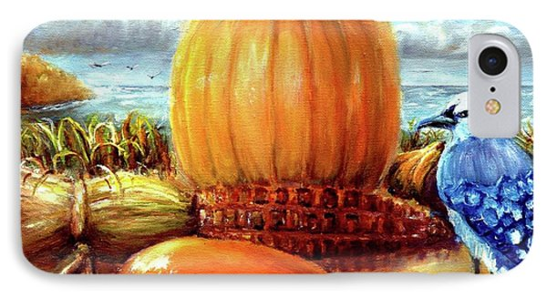 IPhone Case featuring the painting Seashore Pumpkin  by Bernadette Krupa