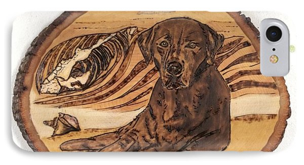 IPhone Case featuring the pyrography Seaside Sam by Denise Tomasura