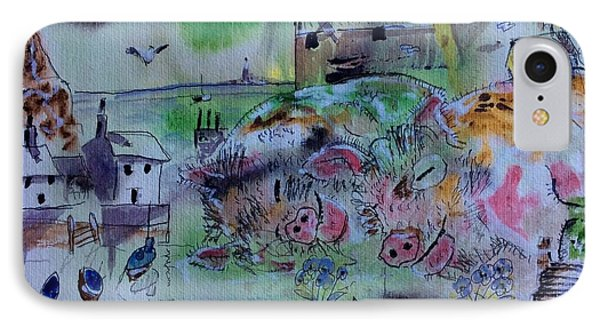 Seaside With Pigs IPhone Case by Gordon Bell