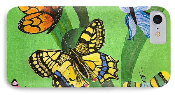 IPhone Case featuring the painting Season Of Butterflies by Donna Blossom