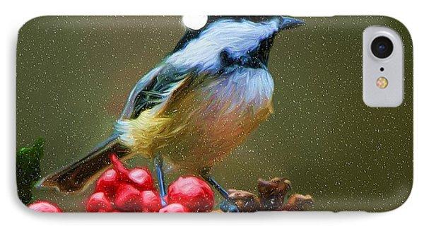 Seasons Greetings Chickadee IPhone Case by Tina LeCour