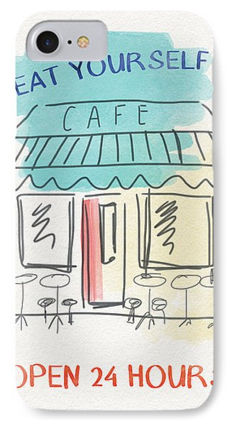 Seat Yourself Cafe- Art By Linda Woods IPhone Case