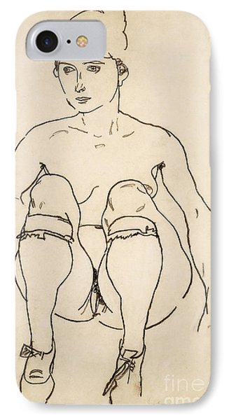 Seated Nude With Shoes And Stockings IPhone Case by Egon Schiele