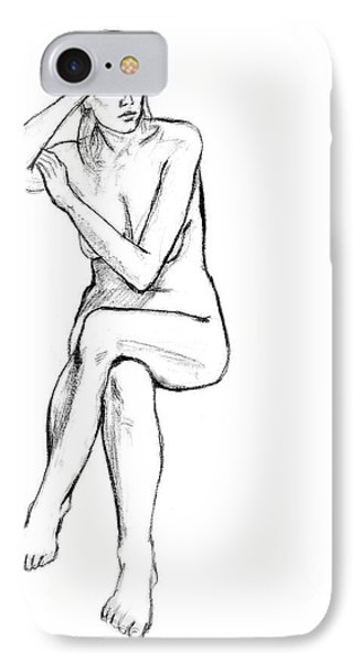 Seated Nude Woman Phone Case by Adam Long