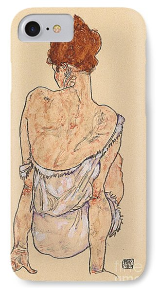 Seated Woman In Underwear IPhone Case by Egon Schiele