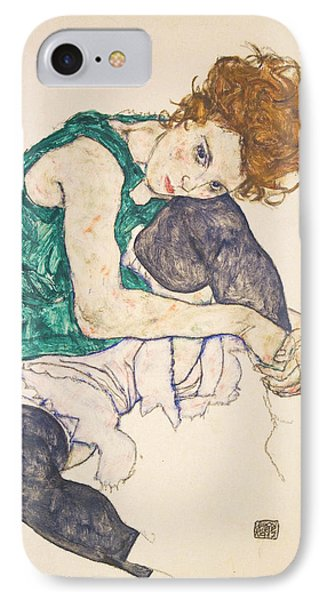 Seated Woman With Legs Drawn Up IPhone Case by Egon Schiele