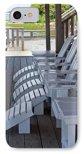 IPhone Case featuring the photograph Seating By The Sea - Montauk by Art Block Collections