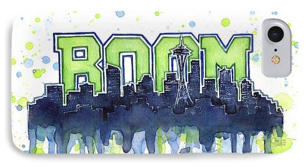 Seattle 12th Man Legion Of Boom Watercolor IPhone 7 Case by Olga Shvartsur
