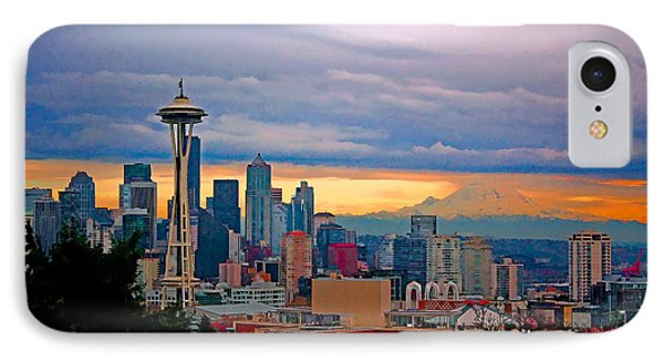 Seattle At Sunset IPhone Case by Elaine Plesser