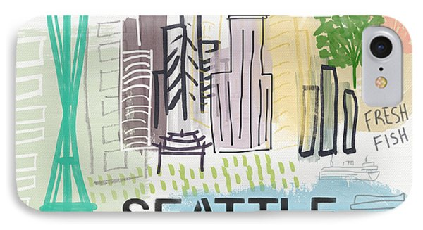 Seattle Cityscape- Art By Linda Woods IPhone Case by Linda Woods