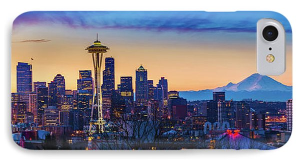 Seattle Dawn Panorama IPhone Case by Inge Johnsson