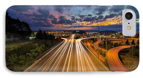 Seattle Freeway Light Trails Phone Case by David Gn